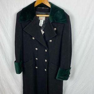 Vintage Mondi Trench Coat Green Velvet Trim